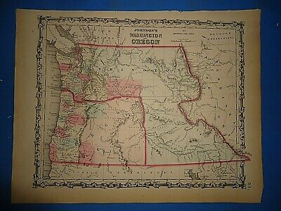 Vintage 1862 WASHINGTON TERRITORY MAP Old Antique Original Johnson's Atlas 425