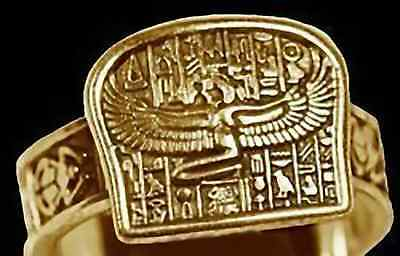 LOOK Egyptian Isis Goddess Ring egypt Jewelry Gold plated OVR sterling silver Je