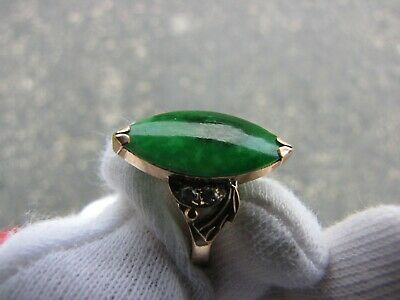 Old Grade A Green Jadeite Ring 14K Gold( Tested). .