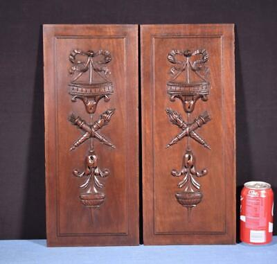 *Pair of Antique Louis XVI Style French Walnut Wood Panels Salvage