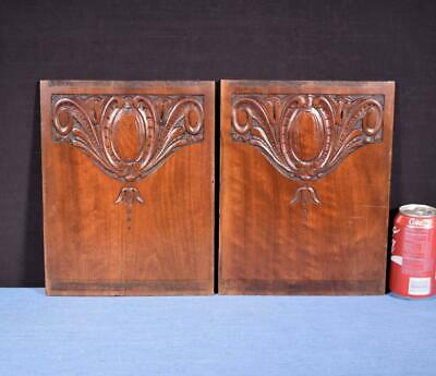*Pair of Antique French Walnut Wood Carved Panels Salvage