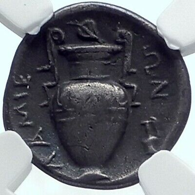 LAMIA in THESSALY Authentic Ancient 370BC Silver Greek Coin DIONYSUS NGC i78000