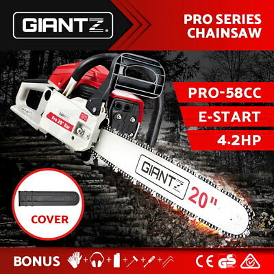 "GIANTZ 58cc Commercial Petrol Chainsaw 20"" Bar E-Start Chains Saw Tree Pruning"