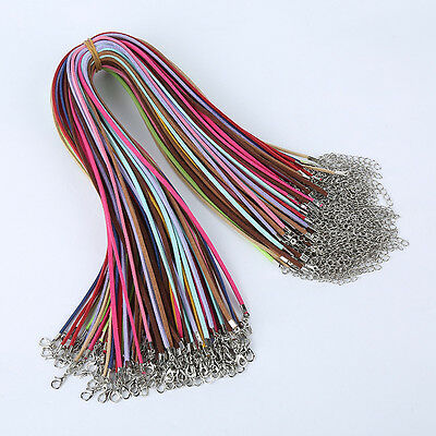 10PCS Suede Leather String Necklace Cords With Clasp DIY Jewelry Making
