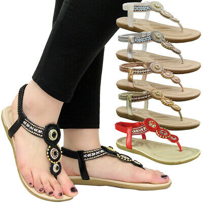 Womens Flat Comfy Toe Post Strap Party Shoes Ladies Diamante Summer Sandals Size