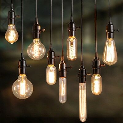 E27 Screw 40W Vintage Antique Retro Style Light Filament Edison Lamp Bulb 7 Type