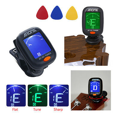 Chromatic Guitar Digital Tuner Electric for Acoustic Clip-On With Battery