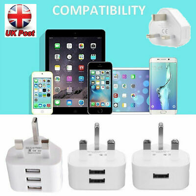 UK Mains 3 Pin Plug Adapter Wall Travel Charger USB Ports for Mobile Phone