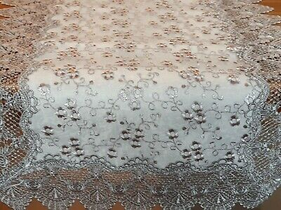 Rectangle 40*90cm (GreyOrWhite) Broderie Anglaise Style T/Runner