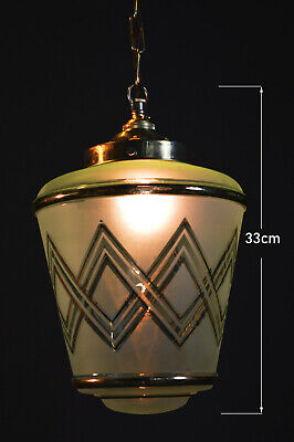 Vintage 1940s Art Deco brass Tint Frosted Gilt glass Light pendant lantern shade