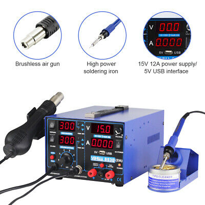 YIHUA 853D 4 in 1 Soldering Iron & Hot Air Desoldering Station +USB Power Supply