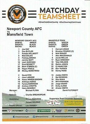 2018/19  NEWPORT COUNTY v MANSFIELD TOWN  Play Off Semi-Final Official Teamsheet