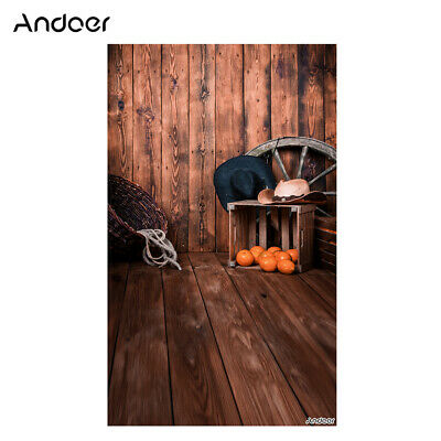 Andoer 1.5 * 0.9m/5 * 3ft Farm Theme Photography Background Wood Floor Wall J3S3