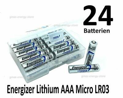 24 Energizer Ultimate Lithium AAA Micro Batterien in (Flachbox)