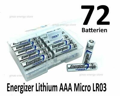 72 Energizer Ultimate Lithium AAA Micro Batterien in (Flachbox)