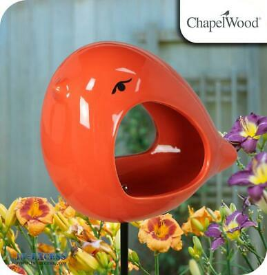 ChapelWood Hand Painted Ceramic Bird Feeder Stake - Ember Orange (671)