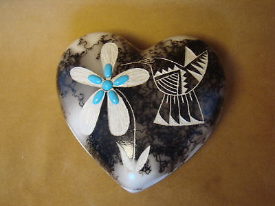 Native American Pottery Hummingbird Heart Trinket Navajo Horse Hair Sculpture Po