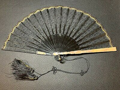 Antique Victorian Inlaid Mother of Pearl & Belgian Lace Mourning Revirsable Fan