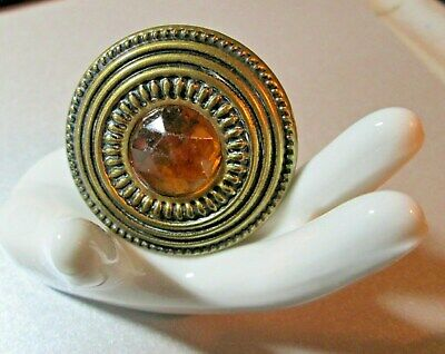 """Large VINTAGE Jewelled Button*GAY Nineties*amber facetted **1-5/8""""         *1951"""