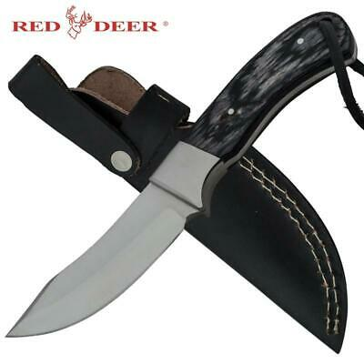 "Red Deer® 7.5"" Outdoors-man Black Moose Hide Hunting Knife with Leather Sheath"