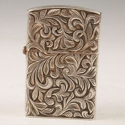 Rare Chinese Silver Lighter Case Old Hand-Carved Pattern Mascot Collection Gift