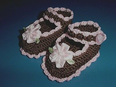 Crochet Handmade Baby Girl Doll Booties Shoes Brown & Pink Mary Jane