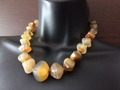 Chunky Antique Vintage faceted Agate Necklace Chinese