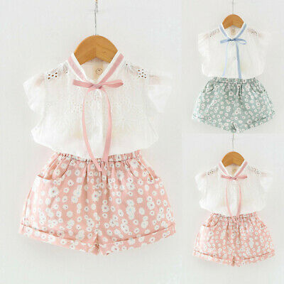 2PCS/Set  Toddler Baby Girls Outfits Clothes T-shirt Vest Tops+Shorts Pants 2-7Y