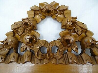 Antique French Hand Carved Walnut Wood Pediment-Crest - Ribbon Louis XVI & Roses