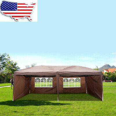 13 x 6m BBQ Gazebo Pavilion White Canopy Wedding Party Tent With Side Walls