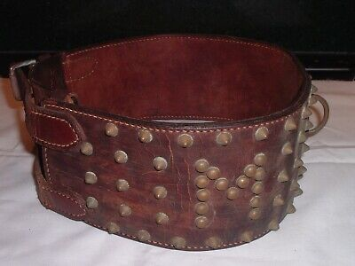 RARE HUGE Antique leather Brass Studded Dog Collar Museum Quality / mastiff HUGE