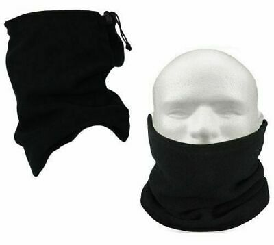 Black Neckwarmer Thermal Polar Fleece Snood Scarf Hat Ski Wear Mens Ladies