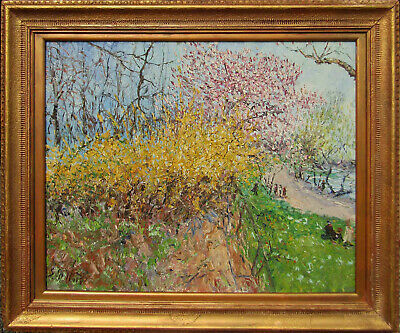 LISTED Serge Belloni Large Old Impressionist Landscape Oil Painting NO RESERVE