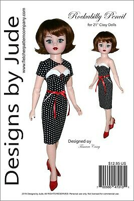 "Rockabilly Doll Clothes Sewing Pattern for 21"" Cissy Madame Alexander Dolls"