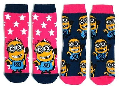 Girls 2 Pairs Minions Despicable Me Pink Slipper Socks Uk Size 6-8.5 / 2-3 Years