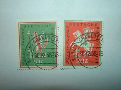 1958 WEST GERMANY BERLIN STUDENTS' FUND SET VFU (sg1204-5) CV £8.50