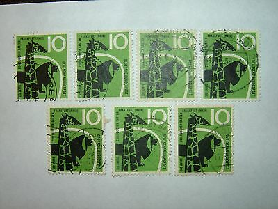 1958 WEST GERMANY FRANKFURT ZOO STAMPS x 7 VFU (sg1206) CV £5