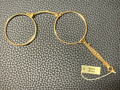 Antique French Double 20 Gold Pendant Lorgnette Opera Glasses Spectacles c1920's