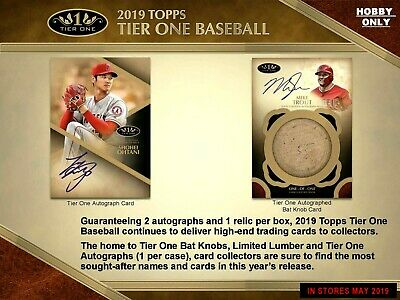 2019 Topps Tier One Baseball Hobby Box 2 Autographs 1 relic per box 2 DAY SALE**