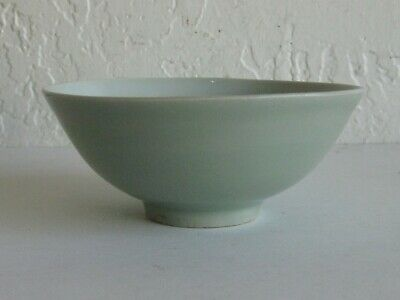 Fine Old Antique Chinese Porcelain Celadon Footed Ogee Bowl SIGNED! Mint Cond!