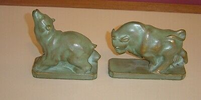 2 JF Co. NY Stock Exchange Bull & Bear Cast Metal Bronze? Heavy Bookends 1920's