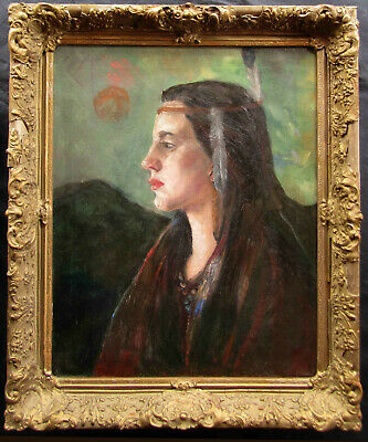 Native American Indian Maiden OLD Impressionist Portrait Oil Painting NO RES.