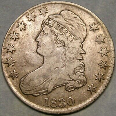 1830 CAP BUST HALF $ VERY RARE LARGE LETTERS REV OVERTON #114a PCGS VF/XF DETAIL