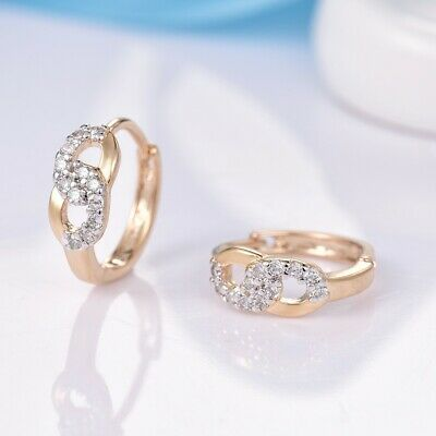 Charms Clear Round Sapphire Crystal Gold Infinity Hoop Earrings Bridal Jewelry