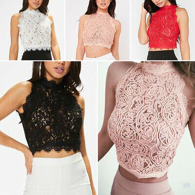 cac67677d0a Sexy Women Lace Crop Top Casual Vest Sleeveless Tank Top Solid Camisole Cami