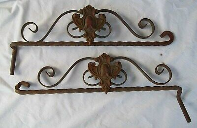 """2 Antique Vintage 18"""" Cast Iron Twisted Steel Swing Arm Curtain Rods"""