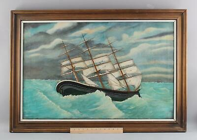 Large 19thC Antique English Maritime Folk Art Seascape Oil Painting Clipper Ship
