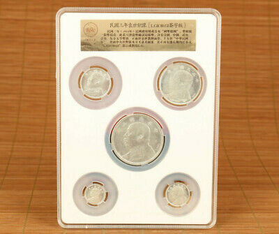 old copper silver hand cast 1914 year statue 5 piece commemorative coins