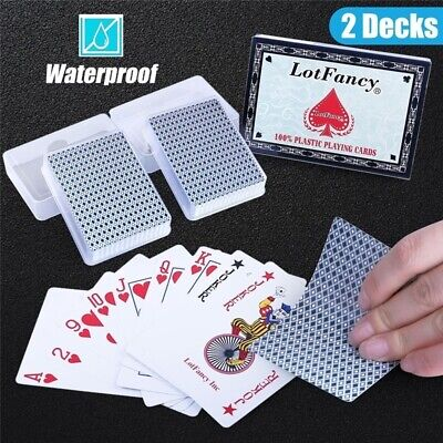 2 Pack Waterproof PVC Pokers Plastic Table Game Playing Cards with Plastic Cases