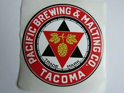 Beer Collectible STICKER ~ PACIFIC Brewing & Malting Co ~ Tacoma, WASHINGTON